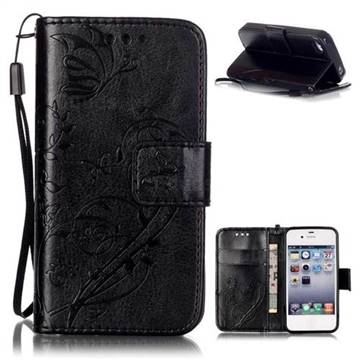 Embossing Butterfly Flower Leather Wallet Case for iPhone 4s / iPhone 4 - Black