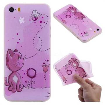 Cat and Bee 3D Relief Matte Soft TPU Back Cover for iPhone SE 5s 5