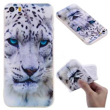 White Leopard 3D Relief Matte Soft TPU Back Cover for iPhone SE 5s 5