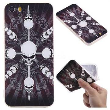 Compass Skulls 3D Relief Matte Soft TPU Back Cover for iPhone SE 5s 5