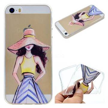 Summer Girl Super Clear Soft TPU Back Cover for iPhone SE 5s 5