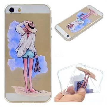 Beach Girl Super Clear Soft TPU Back Cover for iPhone SE 5s 5