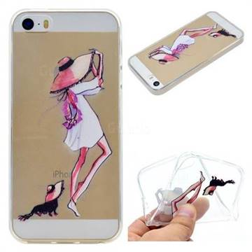 Pet Girl Super Clear Soft TPU Back Cover for iPhone SE 5s 5
