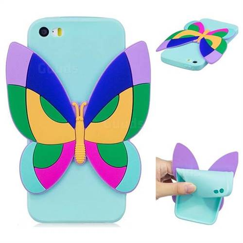 Rainbow Butterfly Soft 3D Silicone Case for iPhone SE 5s 5