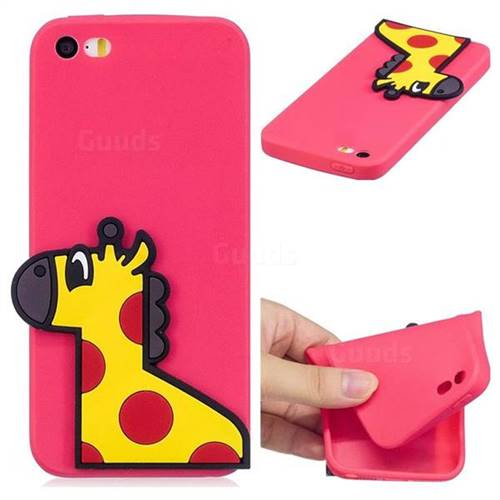 Yellow Giraffe Soft 3D Silicone Case for iPhone SE 5s 5