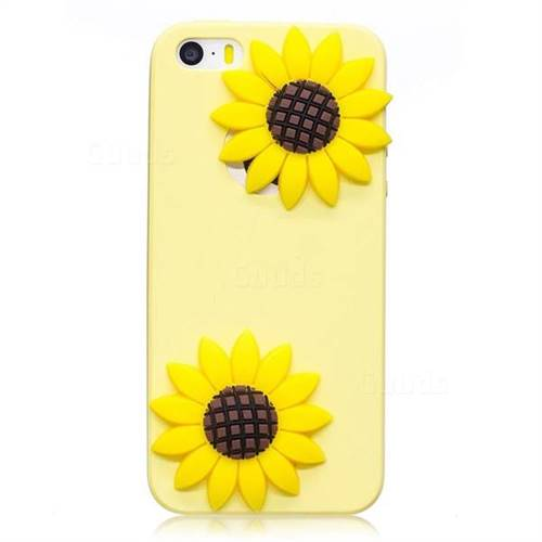 buy popular 63c0c ce231 Yellow Sunflower Soft 3D Silicone Case for iPhone SE 5s 5