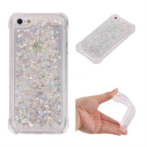 Dynamic Liquid Glitter Sand Quicksand Star TPU Case for iPhone SE 5s 5 - Silver