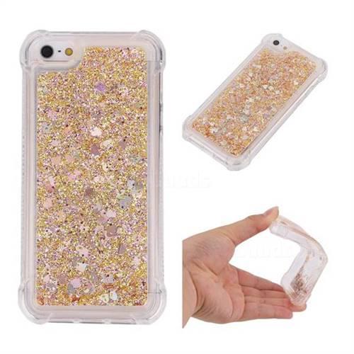Dynamic Liquid Glitter Sand Quicksand Star TPU Case for iPhone SE 5s 5 - Diamond Gold