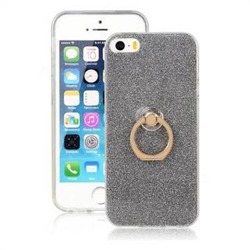 Luxury Soft TPU Glitter Back Ring Cover with 360 Rotate Finger Holder Buckle for iPhone SE 5s 5 - Black