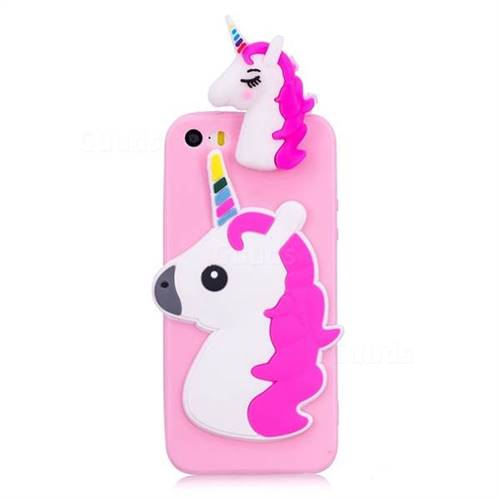 separation shoes 78519 f8bd9 Unicorn Soft 3D Silicone Case for iPhone SE 5s 5 - Rose