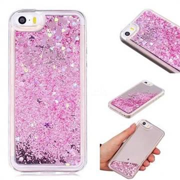 Glitter Sand Mirror Quicksand Dynamic Liquid Star TPU Case for iPhone SE 5s 5 - Cherry Pink