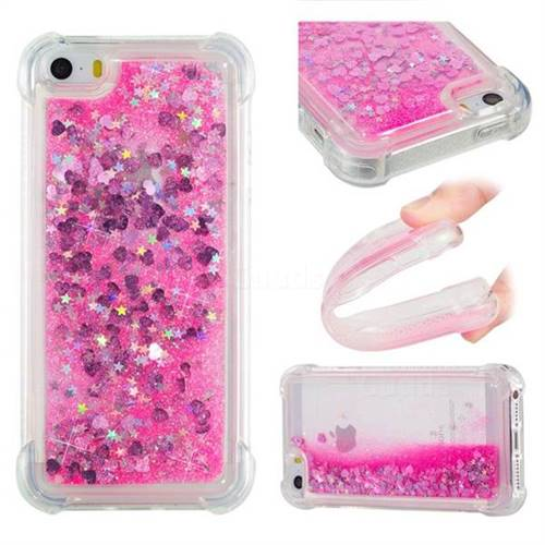 Dynamic Liquid Glitter Sand Quicksand TPU Case for iPhone SE 5s 5 - Pink Love Heart