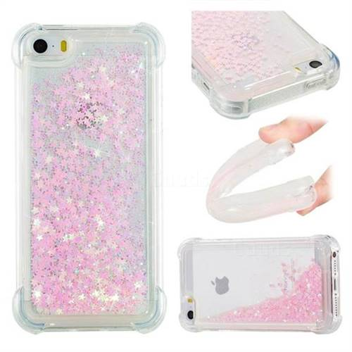 Dynamic Liquid Glitter Sand Quicksand TPU Case for iPhone SE 5s 5 - Silver Powder Star