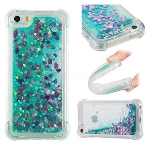 Dynamic Liquid Glitter Sand Quicksand TPU Case for iPhone SE 5s 5 - Green Love Heart