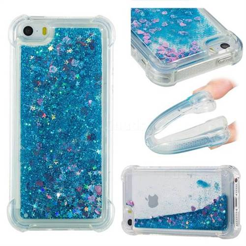Dynamic Liquid Glitter Sand Quicksand TPU Case for iPhone SE 5s 5 - Blue Love Heart