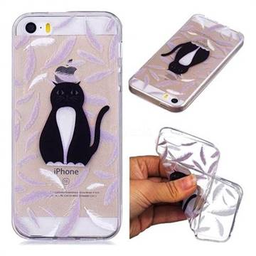 Feather Black Cat Super Clear Soft TPU Back Cover for iPhone SE 5s 5
