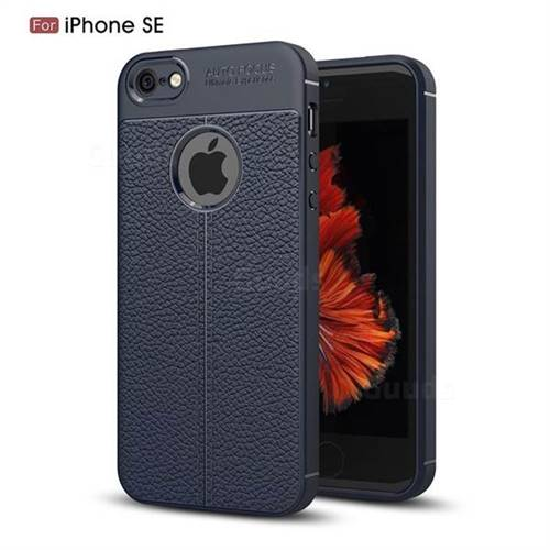 Luxury Auto Focus Litchi Texture Silicone TPU Back Cover for iPhone SE 5s 5 - Dark Blue