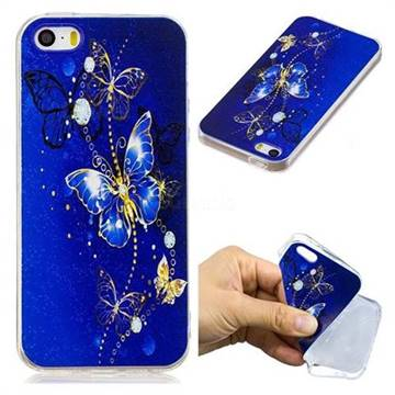 Gold and Blue Butterfly Super Clear Soft TPU Back Cover for iPhone SE 5s 5