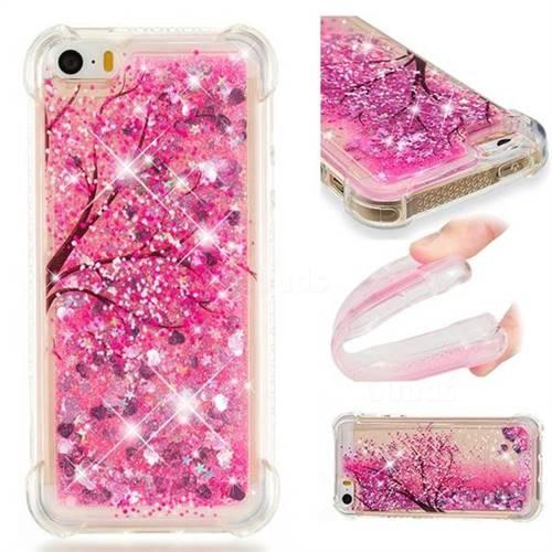 Pink Cherry Blossom Dynamic Liquid Glitter Sand Quicksand Star TPU Case for iPhone SE 5s 5