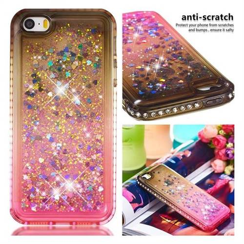 Diamond Frame Liquid Glitter Quicksand Sequins Phone Case for iPhone SE 5s 5 - Gray Pink