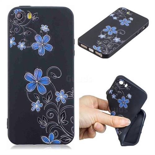Little Blue Flowers 3D Embossed Relief Black TPU Cell Phone Back Cover for iPhone SE 5s 5