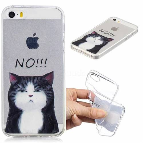 No Cat Clear Varnish Soft Phone Back Cover for iPhone SE 5s 5