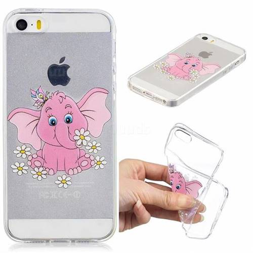 Tiny Pink Elephant Clear Varnish Soft Phone Back Cover for iPhone SE 5s 5