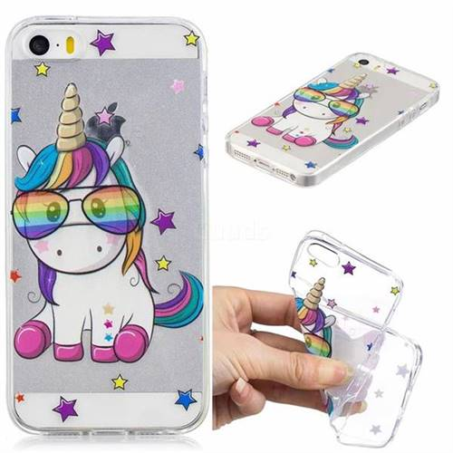 Glasses Unicorn Clear Varnish Soft Phone Back Cover for iPhone SE 5s 5