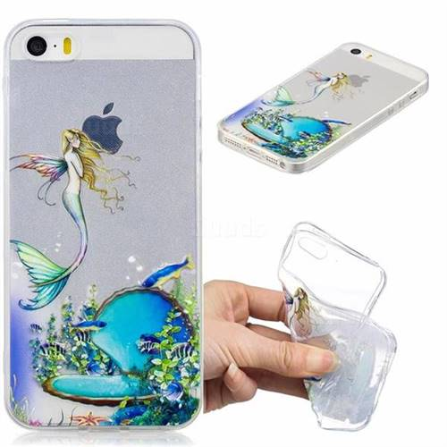 Mermaid Clear Varnish Soft Phone Back Cover for iPhone SE 5s 5