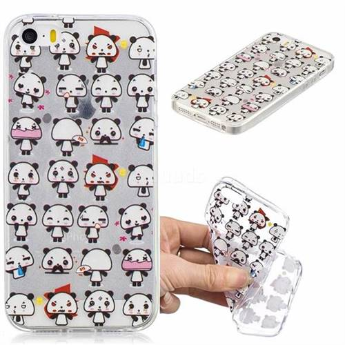 Mini Panda Clear Varnish Soft Phone Back Cover for iPhone SE 5s 5
