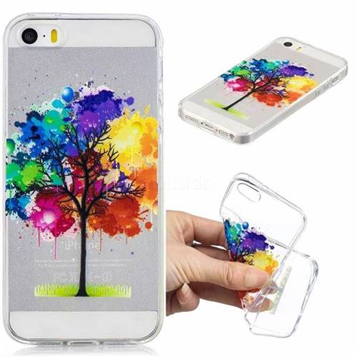 Oil Painting Tree Clear Varnish Soft Phone Back Cover for iPhone SE 5s 5