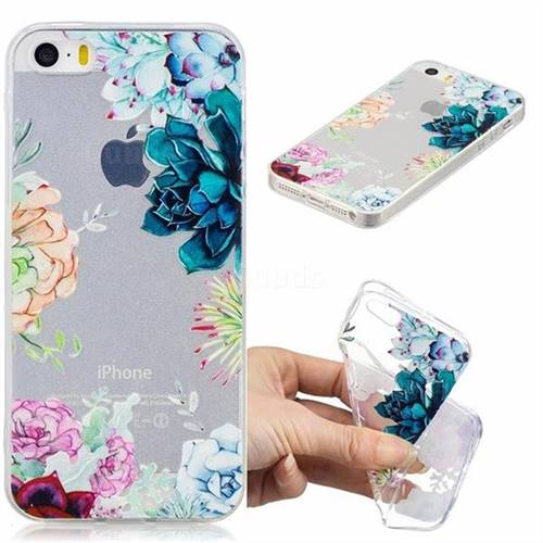 Gem Flower Clear Varnish Soft Phone Back Cover for iPhone SE 5s 5