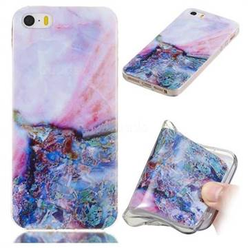 Purple Amber Soft TPU Marble Pattern Phone Case for iPhone SE 5s 5