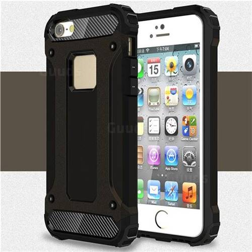 King Kong Armor Premium Shockproof Dual Layer Rugged Hard Cover for iPhone SE 5s 5 - Black Gold