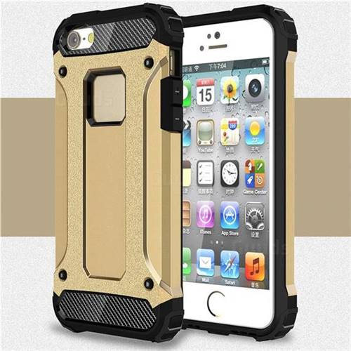 King Kong Armor Premium Shockproof Dual Layer Rugged Hard Cover for iPhone SE 5s 5 - Champagne Gold