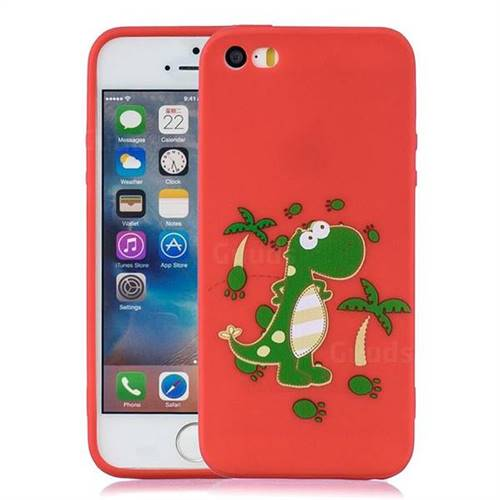 online retailer 03d01 b8d32 Red Dinosaur Soft Kiss Candy Hand Strap Silicone Case for iPhone SE 5s 5