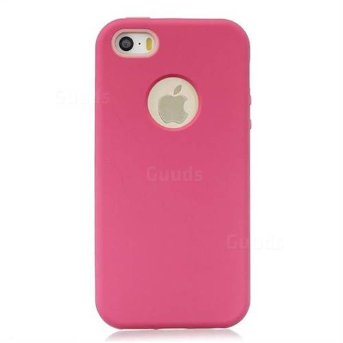 new concept 736f1 9658a Matte PC + Silicone Shockproof Phone Back Cover Case for iPhone SE 5s 5 -  Red