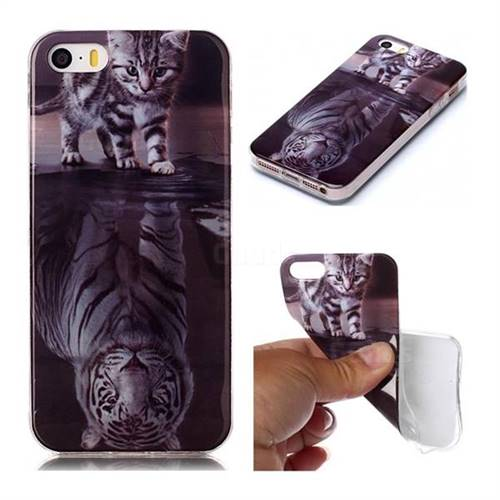 Cat and Tiger Soft TPU Cell Phone Back Cover for iPhone SE 5s 5