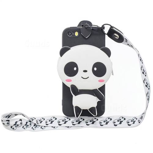 White Panda Neck Lanyard Zipper Wallet Silicone Case for iPhone SE 5s 5