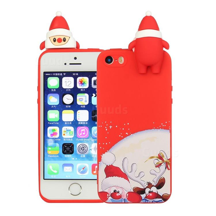 Santa Claus Elk Christmas Xmax Soft 3D Doll Silicone Case for iPhone SE 5s 5