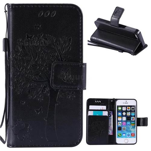 Embossing Butterfly Tree Leather Wallet Case for iPhone SE 5s 5 - Black