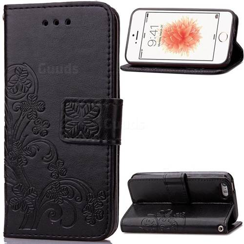 Embossing Imprint Four-Leaf Clover Leather Wallet Case for iPhone SE 5s 5 - Black