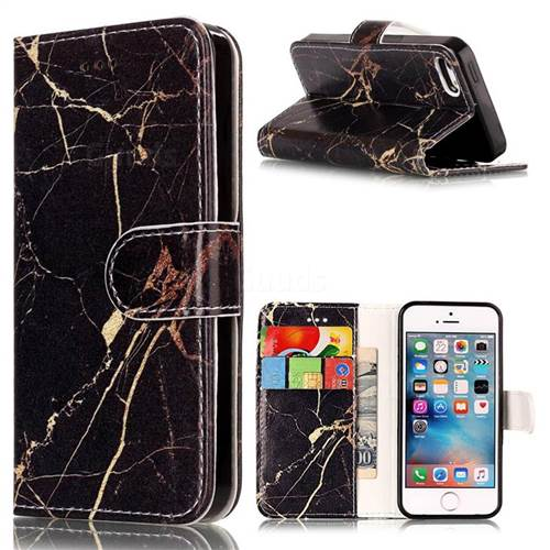 Black Gold Marble PU Leather Wallet Case for iPhone SE 5s 5