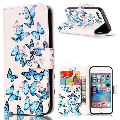 Blue Vivid Butterflies PU Leather Wallet Case for iPhone SE 5s 5