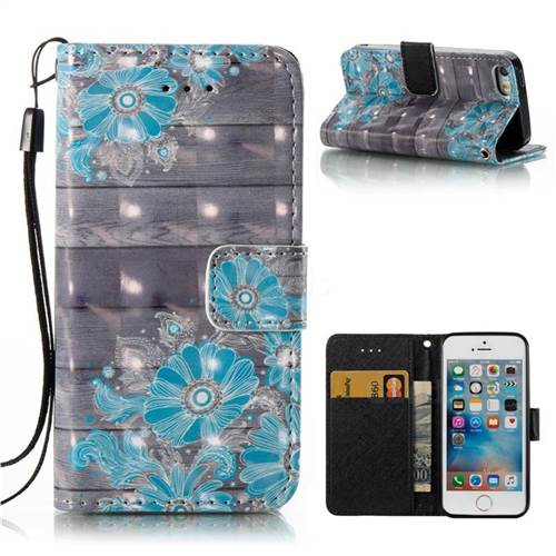 Blue Flower 3D Painted Leather Wallet Case for iPhone SE 5s 5