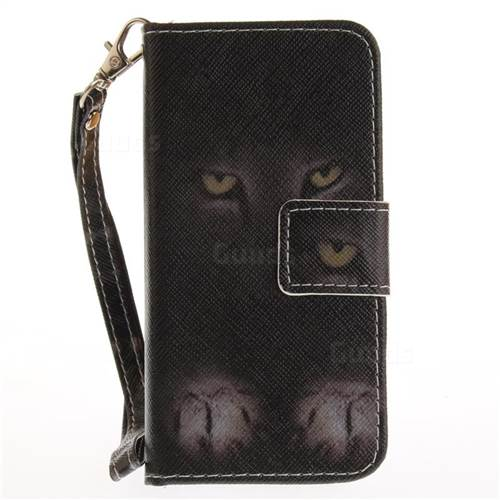check out f61a6 09a7c Mysterious Cat Hand Strap Leather Wallet Case for iPhone SE 5s 5