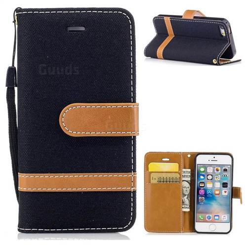 Jeans Cowboy Denim Leather Wallet Case for iPhone SE 5s 5 - Black