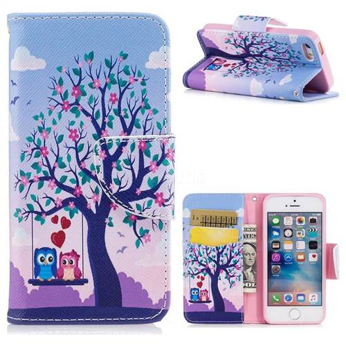 Tree and Owls Leather Wallet Case for iPhone SE 5s 5