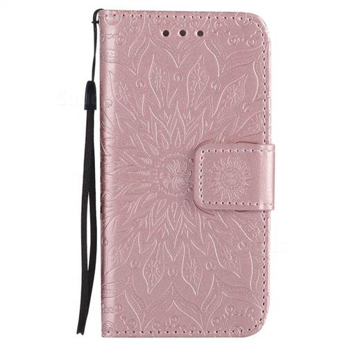 new concept 3cdc5 5dc4a Embossing Sunflower Leather Wallet Case for iPhone SE 5s 5 - Rose Gold