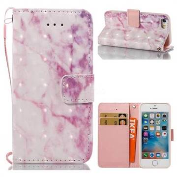 Pink Marble 3D Painted Leather Wallet Case for iPhone SE 5s 5